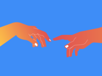 The Creation of Adam figma illustration art colorful white red blue fun nails hands creation