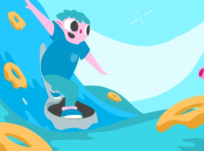 Ride that wave milk imagination kids vector animation after effects illustration gif character design 2d animation character vector 2d animation