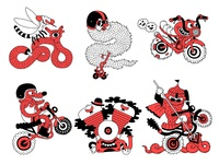 Character sticker for motorbike