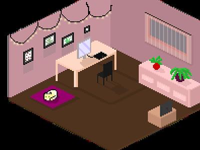 Room pixel pixelart illustration