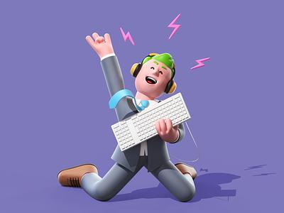 The Office Rock Star c4d cinema4d illustration character 3d