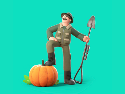 Veggie Hunter illustration character design 3d character riffle vegetables hunter cinema4d character 3d