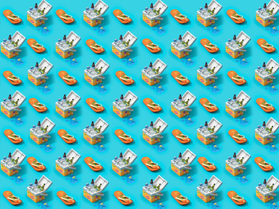 100 Days of Summer beach summer flip flops cooler box design c4d cinema4d illustration 3d