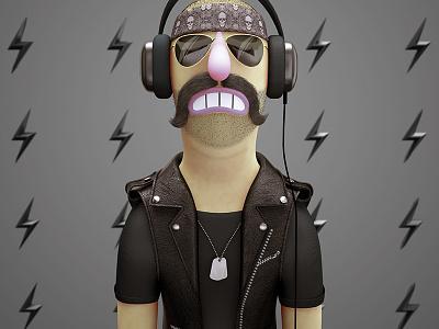 Metalhead - Stereotype stereotype headphones biker heavy metal rockn roll rock design character illustration 3d
