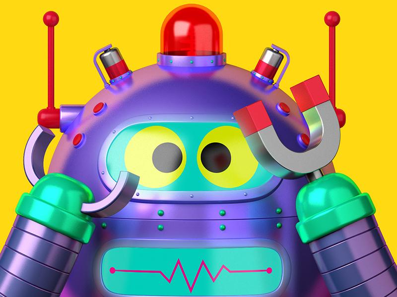 Peekaboo Robot fun cinema4d c4d 3d illustration character