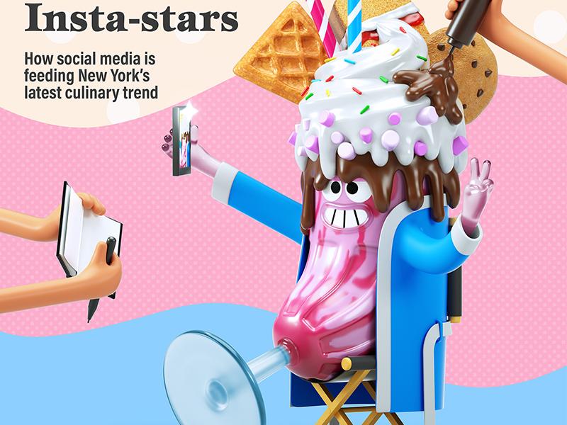 Freakshake Star food celebrity instagram waffle ice cream chocolate drink freakshake milkshake cg 3d character