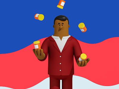 Juggling prescriptions c4d cinema4d guy man suit prescription juggle medical 3d. character