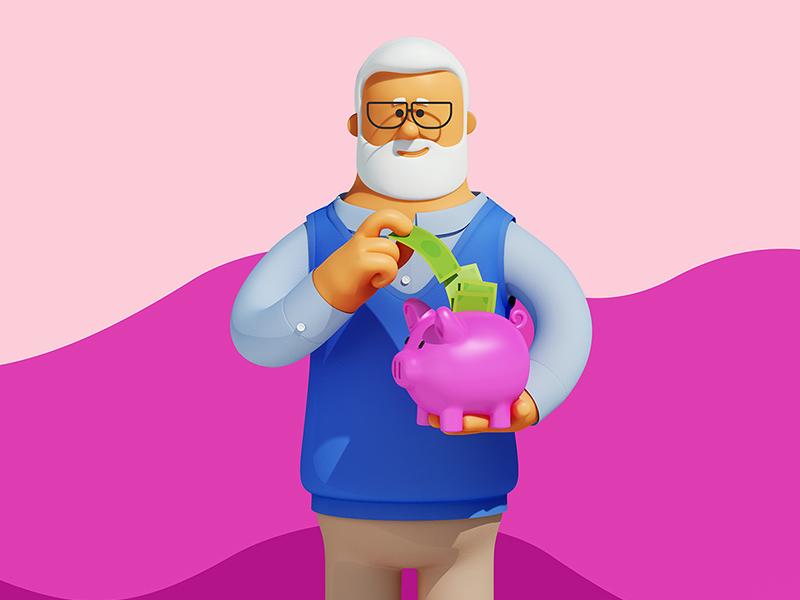 Saving money c4d cinema4d guy man suit money piggybank saving grandpa medical 3d. character