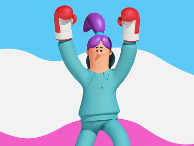 Victorious c4d cinema4d win winnning victory fit workout boxing medical 3d. character