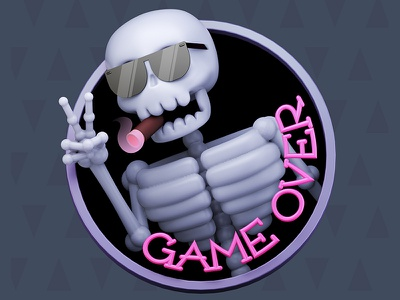 Game Over Sticker sticker c4d animation cinema4d cgi illustration character 3d