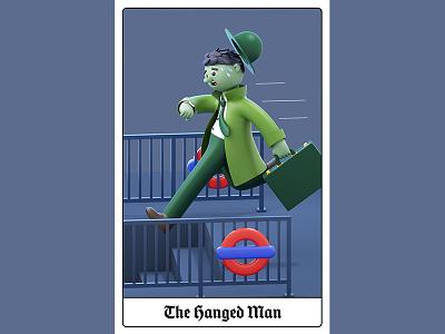 London Tarot Card - The Hanged Man branding design editorial c4d animation cinema4d illustration character 3d