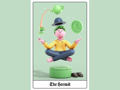London Tarot Card - The Hermit branding design editorial gif animation c4d cinema4d illustration character 3d