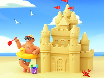 Fathers Day sandcastle fathersday father dad animation gif cinema4d illustration character 3d