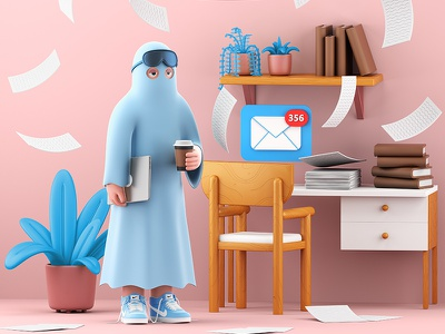 Home office life colorful furniture work mail email office cgi fun gif animation c4d illustration cinema4d 3d character