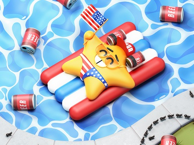 Independence Day pool drink beer chilling independence day 4thofjuly cgi fun gif animation c4d cinema4d illustration character 3d