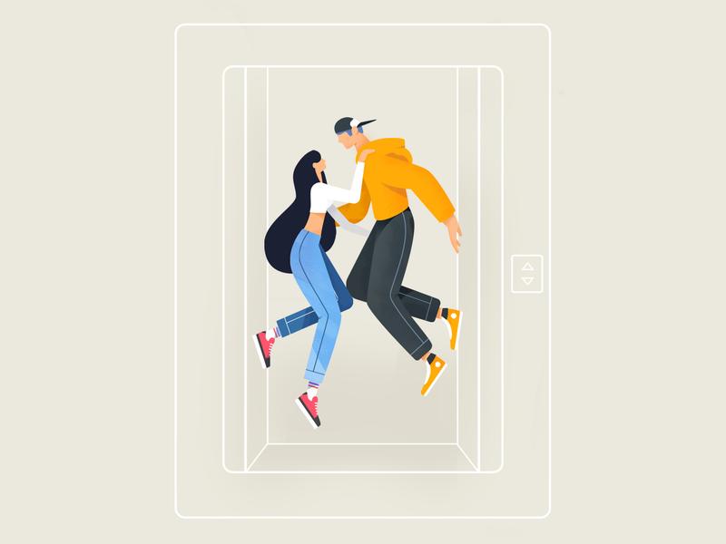 eLOVEator sneaker kiss love couple elevator 2d illustration illustartor character creation character art character