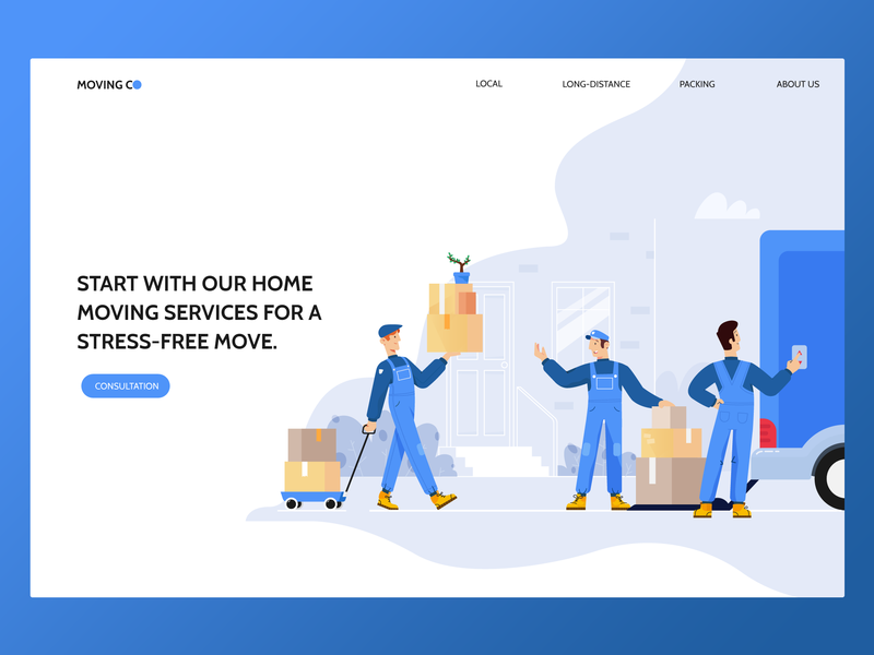Moving Company character creation moving company web 2d illustration character
