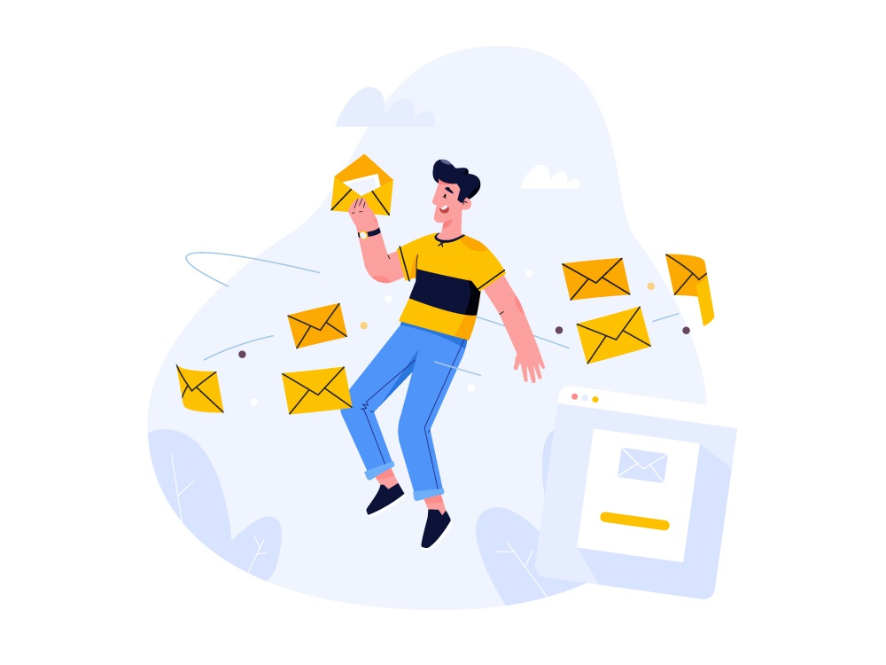 Mail message mail design vector character creation character art 2d illustration character