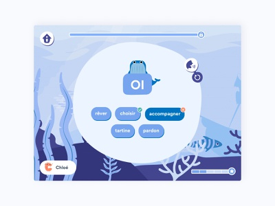 Lalilo's exercice nature animal illustration learning french learning app design app ui ux ui interface design blue whale literacy exercises exercise app illustration ocean children pedagogy app students childrens illustration