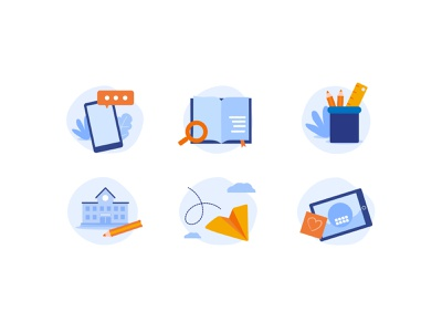 Educational projects icons branding illustration vector design ui school icons design iconset education app education ui design icons