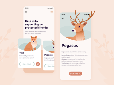 🐨Mobile app for an animal sanctuary vector branding nature home screen cards ui uidesign interface mobile app design icons animal illustration animal illustration application mobile ui ui app mobile app