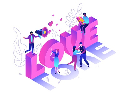 St. Valentine's Day isometric collection isometric illustration isometry holiday st valentines day love valentine character vector style design illustration
