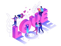 St. Valentine's Day isometric collection