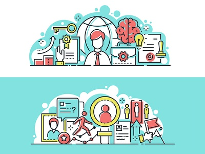 CEO and human resources banner recruitment hr ceo banner composition line business vector style design illustration