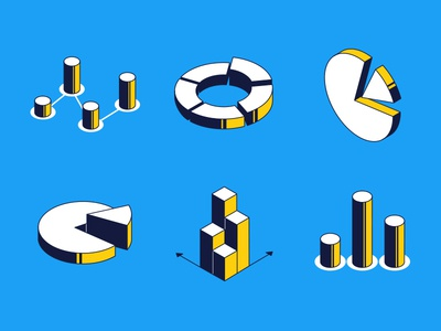 Charts and diagrams - isometric icons