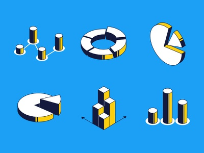Charts and diagrams - isometric icons infographics diagram chart isometric icon vector style design illustration