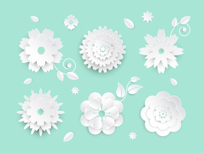 White paper cut flowers flower origami paper cut vector style design illustration