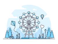 Amusement park line illustrations