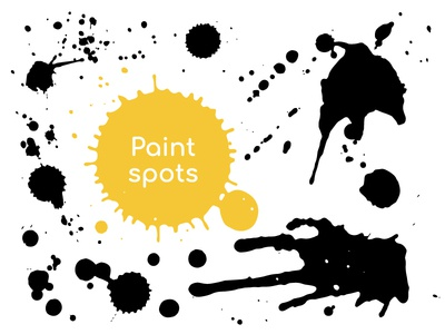 Hand-drawn Brushstrokes, Paint spots collection