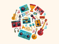 Music collection musical instruments music icon flat design vector style design illustration