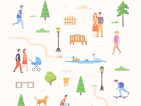 Urban elements collection outdoor collection urban city character flat design vector style illustration