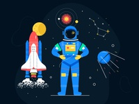 Space exploration banner cosmic spaceship shuttle exploration astronaut space character flat design vector style design illustration