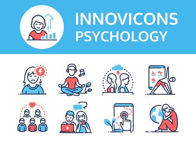 Psychology - line icons psychological problem icon set icon design web psychologist therapy psychology line icon vector style design