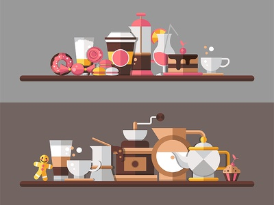 Coffee and bakery collection banner cappuccino store croissant ice cream chocolate cake bakery coffee collection icon flat design vector style design illustration