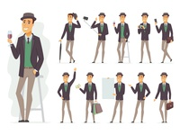 Character constructor collection emotion pose character design cartoon composition business character flat design vector style design illustration