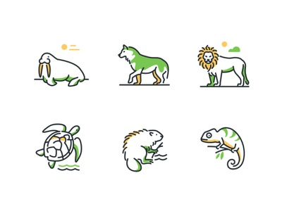 Icons with cute animals wild animals nature linear icons outline animals wildlife collection line icon vector style design