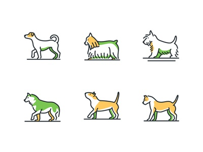 Dog breeds - line icons linear icons cute pet breed dog collection set linear line icon vector style design