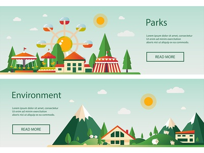 Flat Landscapes Banners place suburban urban landscape web banner ad collection composition flat design vector style design illustration
