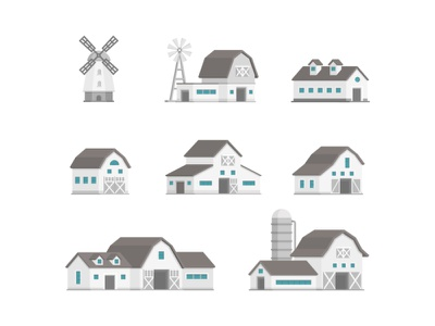 City Buildings Collection suburban urban house object architecture building flat flat design vector style design illustration