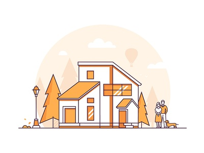 Line houses collection outline linear building house collection composition line flat design vector style design illustration