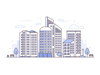 Line urban landscapes landscape architecture building city urban collection line vector style design illustration