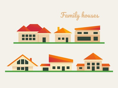 Flat buildings icons urban plant city architecture building home houses collection icon flat design vector style design