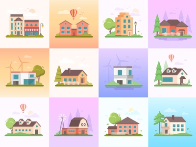 Flat cottages collection town city home house suburban building cottage architecture collection flat design vector style design illustration