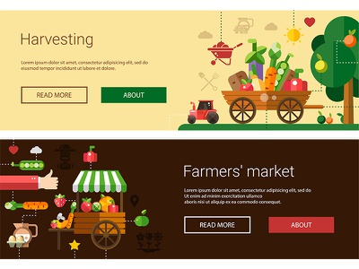 Farm collection village countryside rural crop web banner pattern icon agriculture farm flat design vector style design illustration