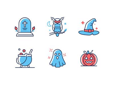 Halloween line icons ghost cauldron jack-o-lantern dribbbleweeklywarmup halloween spooky line icon vector style design