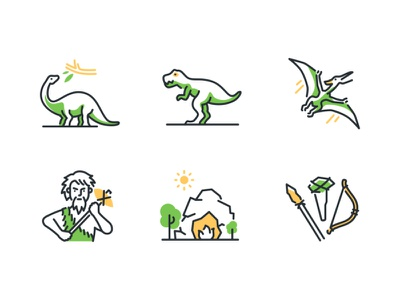 Prehistoric times line icons tools cave caveman collection dinosaurs history times era pregistoric line icon vector style design